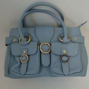 Lucie K duck egg blue leather handbag shoulder bag