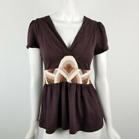 Deletta Anthropologie Babydoll Top Womens Size Small V Neck Short Sleeve Brown