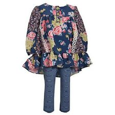 Bonnie Baby Blue Floral Dress & Leggings Outfit Set Infant Baby Girl 12 Months