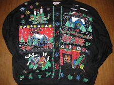 UGLY CHRISTMAS vtg sweatshirt size 24W yuletide log fireplace sweater poinsettia