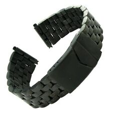 Hadley-Roma Men's Mb5178ra SQ 22 22-mm Black Stainless Steel Wrapped Watch Strap