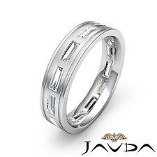 Baguette Bezel Diamond Ring 18k White Gold Mens 6mm Eternity Wedding Band 2.2Ct