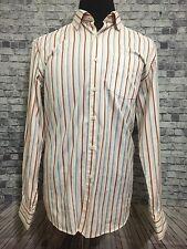 Tommy Bahama Mens Orange Grey White Striped Casual Long Sleeve Sz. L