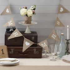 New listing Natural Burlap Mr and Mrs Bunting Banner for Wedding Party Vintage Flags Photo