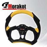 Universal Battle 320mm Pvc Leather 6Bolt Steering Wheel Black/Yellow+Horn Button