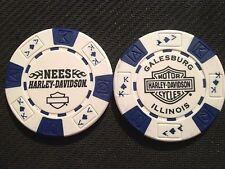 "Harley Davidson Poker Chip (White & Blue) ""Nees"" Galesburg, Illinois"