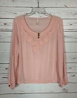 Entro Boutique Women's M Medium Pink Embroidered Long Sleeve Spring Blouse Top