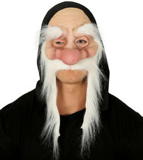 Mens Old Man Dwarf Mask & Long White Moustache Wizard Fancy Dress Costume NEW
