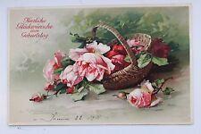 26477 Künstler AK Catharina KLEIN Rosen im Korb 1911 PC CPA