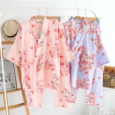 Chinese Japanese Cats & Blossom Ladies Kimono Pyjamas Pajamas Set ladpj125