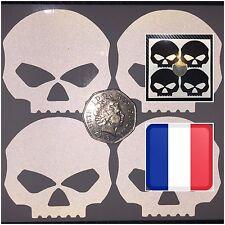 4x Black REFLECTIVE Skulls Motorcycle Helmet Stickers SAFETY HiViz France Regula