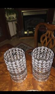 "Crystal Metal Lamp Shades Set Or Candle Holders 10.5"" Tall"