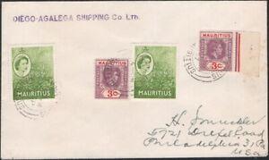 B.I.O.T., 1957. Cover Diego Garcia - Mauritius 212 (2), 252 (2), Philadelphia