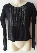 MNG Black Long Sleeved Top With Patterned Front
