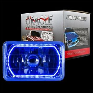 "ORACLE 4""x6"" Sealed Beam Single Headlight + ORACLE Pre-Installed Blue SMD Halo"