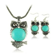 3pcs Tibetan Silver Retro Turquoise Pendant Necklace Owl Drop Earrings Sets