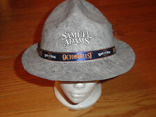 Mens Samuel Adams Beer Octoberfest Felt Hat Fedora Feather Gray Adult Costume
