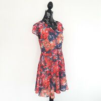 NWT Emerge Womens Size 10 Red Floral Print Short Sleeve A-Line Dress