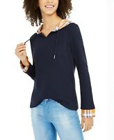 TOMMY HILFIGER Women's Navy Tie Plaid Long Sleeve Hooded T-Shirt Size: M