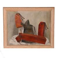 MCM SOCIAL REALISM STILL LIFE OIL ON CANVAS FRAMED PERIOD ORIG SIGNED PAINTING