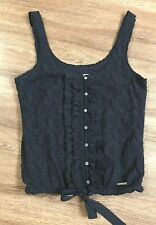 abercrombie fitch Navy Floral Lace Ruffle Tank Top Sz XS