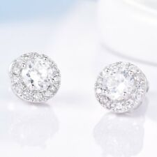 Women Sparkly Topaz Crystal White Gold Filled Statement Cheap Halo Stud Earrings