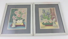 Pair Vintage Mid Century Framed Floral Lithographs Iris Lily Cranes Ikebana GOES