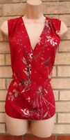 NEXT PETITE PINK FLORAL STUDDED V NECK SLEEVELESS BLOUSE T SHIRT TOP TUNIC 8 S