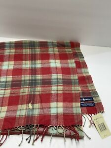 Polo Ralph Lauren Tan Red Plaid Scarf 100% Cotton NWT MSRP $69.50