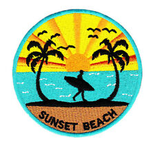 Vintage 80's Style Sunset Beach Surfing Surfer Shirt Patch Badge 9cm
