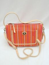 NWT COACH Legacy Weekend Ticking PVC Stripe Hobo Crossbody #23468 Pink Lime