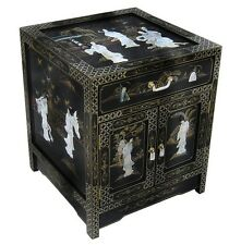 Oriental furniture Chinese end table black lacquer mother of pearl