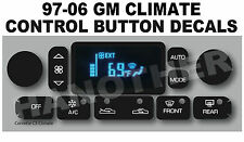 1997-2006 GM GMC CORVETTE CHEVY YUKON TAHOE CLIMATE CONTROL BUTTON DECAL STICKER