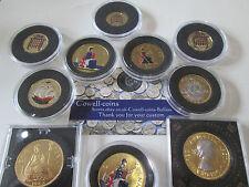 More details for uk queen elizabeth ii gold rhodium platinum enamelled coins 1 penny florin ect