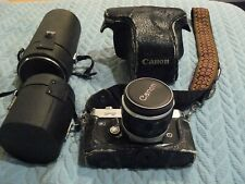 Vintage CANON  FT FILM CAMERA +3 LENSES: 55mm /28 WIDE ANGLE / 70-210 ZOOM Macro