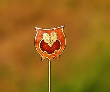 Owl cloisonne enamel gold tone red brown  stick PIN
