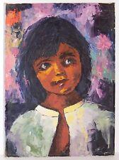 Vintage Child Portrait Painting Little Girl Portrait Signed Millie 1979