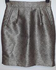H&M Women's Gold Black Tan Speckle Pleated Pencil Skirt Side Pockets Formal Sz 8