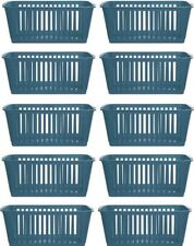 10x Whitefurze Plastic Nestable Handy Tidy Storage Basket Tray 25cm - Teal