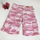 Old Navy Girl's Pink Camo Cargo Shorts Long with Adjustable Waist Size 16 New