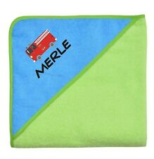 Wolimbo 140x140cm Kapuzenbadetuch mit Namen und Motiv Farbe grün Kapuze türkis
