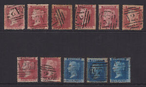 GB. QV. SG 43, 1d rose red & SG 47, 2d blue selection. Used abroad, Malta.