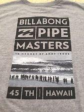 NWT-BILLABONG PIPE MASTERS 2015-NORTH SHORE PIPELINE HAWAII-ANDY IRONS L GRAY T-
