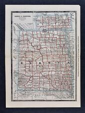 1886 Banker Attorney Map by Cram - Large Dakota  Manitoba Canada Pierre Bismarck