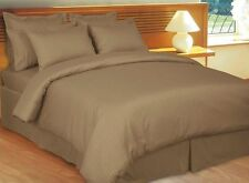 Duvet Cover Set Super King Size Taupe Stripe 1000 Thread Count Egyptian Cotton