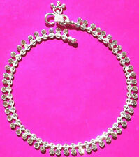 HEAVY SOLID SILVER WHITE COLOR DIAMOND DIMANTE ANKLE BRACELET INDIA