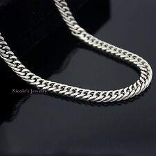Super Cool Stainless Steel Silver Double Curb Cuban Link Chain Necklace Mens