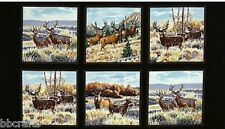 6 BEAUTIFUL WILDLIFE PANELS MULE DEER FABRIC MATERIAL FOR QUILTS HOME DECOR