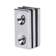 3X N35 40x20x5mm Strong Countersunk Block 2 Hole 5mm Magnet Rare Earth Neodymium