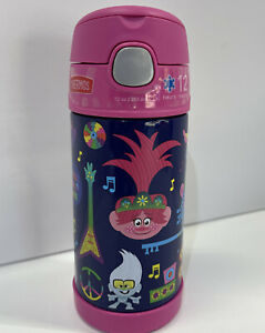 Thermos FUNtainer Trolls World Tour Water Bottle 12 oz. Vacuum Stainless Steel